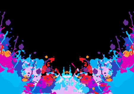 Abstract vector multi color splatter design on black color background. illustration vector design.