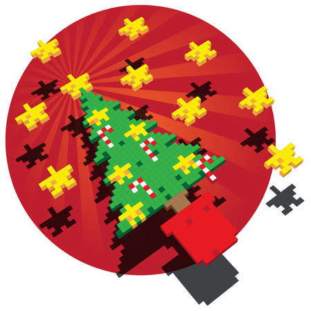 A Retro Game pixel illustration of a Christmas tree with Stars and Candy Canes against a deep red backdrop. The main elements are positioned floating above a fanning background.