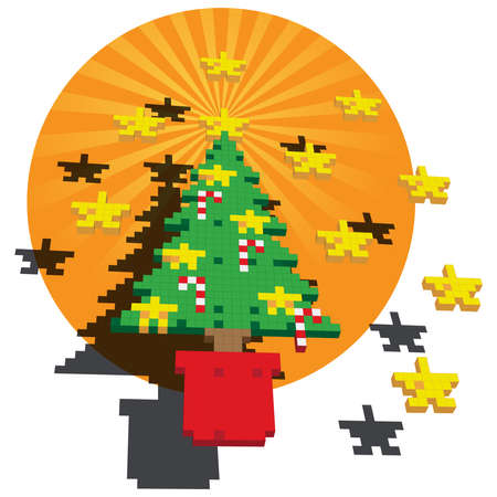 A Retro Game pixel illustration of a Christmas tree with Gold stars and Candy canes against a circular orange backdrop. The main elements are positioned floating above a fanning background.