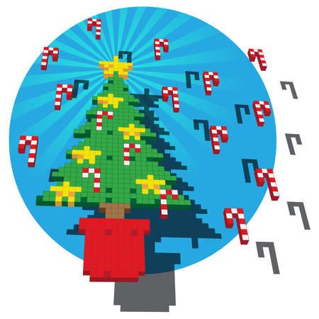 A Retro Game pixel illustration of a Christmas tree with Gold Stars and Candy Canes against a blue circular backdrop. The main elements are positioned floating above a fanning background. Ilustração