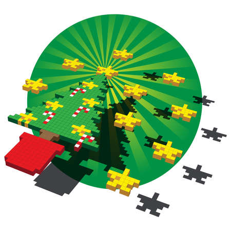 A Cube pixel illustration of a Christmas tree with Stars and Candy Canes against a green circular backdrop. The main elements are positioned floating above a fanning background.