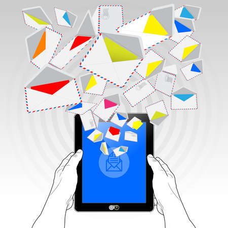 A Tablet Computer sending and receiving email (electronic mail) via a high speed 5G mobile connection. Illustrated is a stream of email randomly emitting / streaming from its display screen.