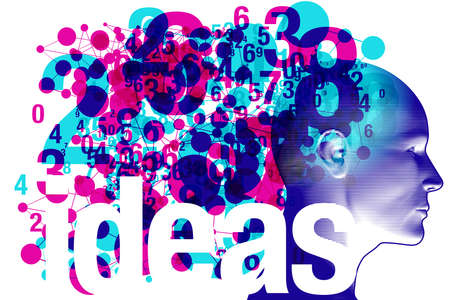 """An adult side profile overlaid with various semi-transparent magenta & cyan shapes objects and details. The word """"Ideas"""" is placed across the bottom."""
