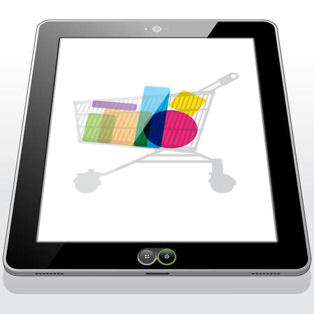 A Tablet PC displaying a shopping cart filled with online purchased goods.