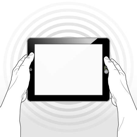 A Tablet computer wirelessly accessing the Internet / WWW streaming Entertainment, Information and Data.