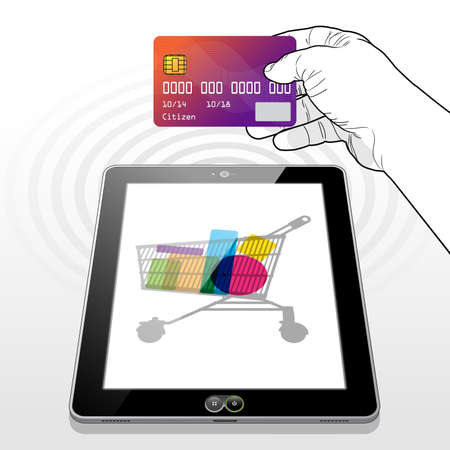 Presenting a credit card to make a payment transaction while shopping online using a Tablet PC.