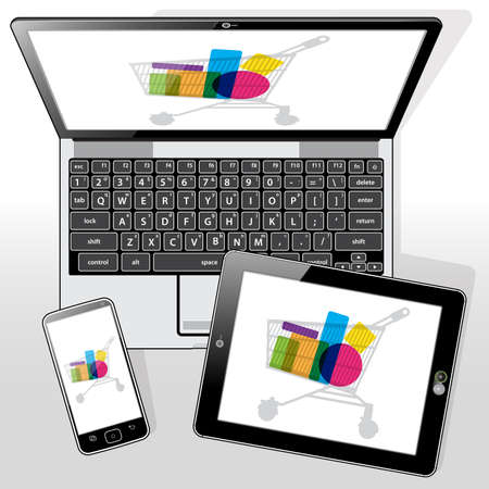 Online e-retail (e-commerce) shopping presented on the 3 presented Mobile devices. 矢量图像