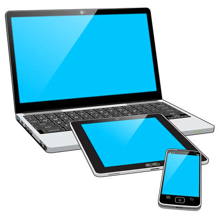 A grouped collection of 3 tech devices - A Smart Phone, Laptop and Tablet personal computer. The Blue screens indicate the devices are powered on. Illusztráció