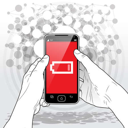 A held Smart-Phone presenting a very low - almost empty battery power charge icon on screen.