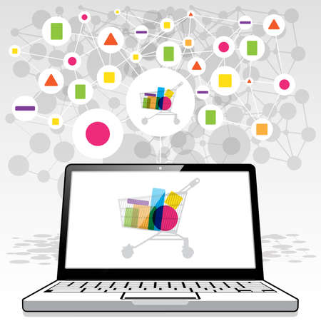 A laptop PC presenting an online shopping trolley filled with collected goods sourced online via a connected global network. Illustration