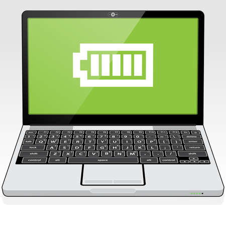 A Laptop PC presenting a full - maximum battery charge icon on screen. 矢量图像