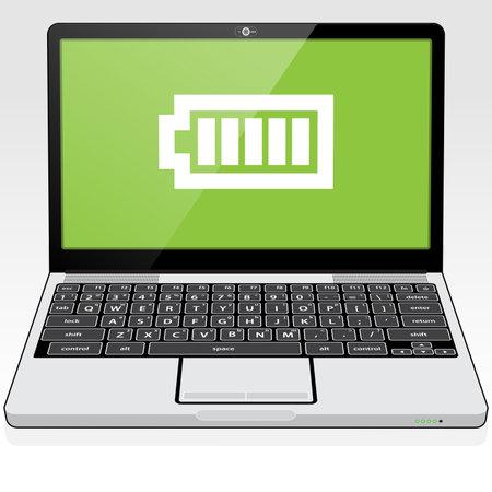 A Laptop PC presenting a full - maximum battery charge icon on screen. Illusztráció