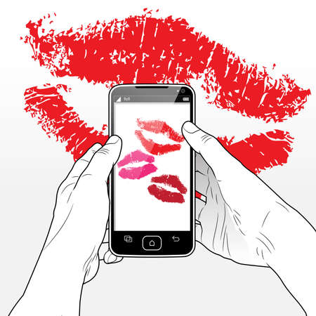 A Smart Phone screen presenting 3 lipstick kisses sent from an online romantic admirer.