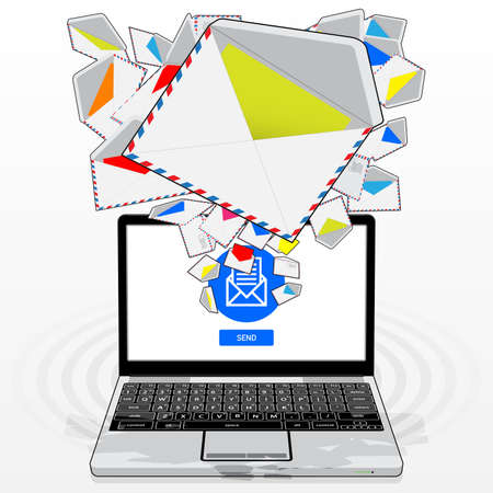 A Laptop Computer, sending and receiving electronic mail. Illustrated is a stream of email randomly emitting / streaming from its display screen.