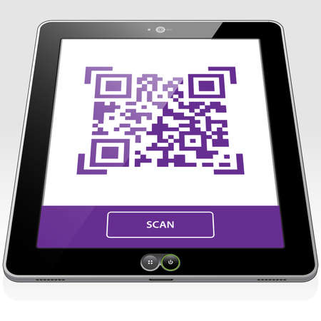 A QR Code Graphic presented on a Tablet PC touch screen. The QR code graphic is ready for scanning.