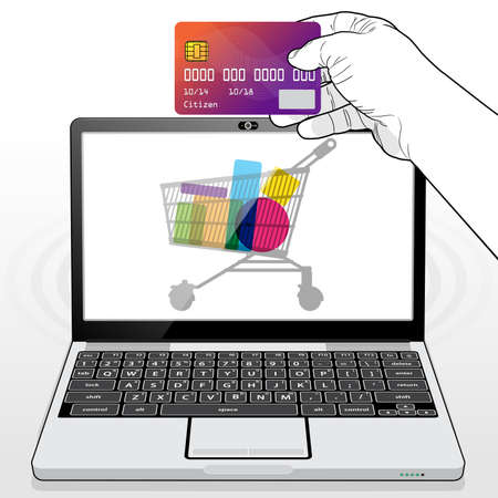 Presenting a credit card to make a payment transaction while shopping online using a Laptop Computer. 矢量图像