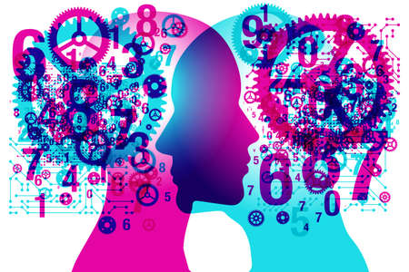 A male and female side silhouette positioned face to face, overlaid with a random set of shapes, gears and numbers.