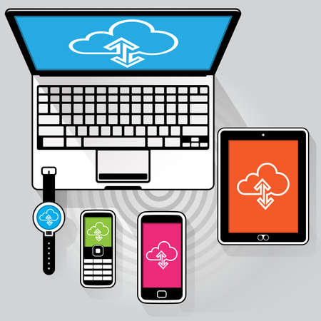 A flat stylised Laptop computer, Tablet PC, Smart phone, Feature phone and Smart watch connected to the WWW streaming data.