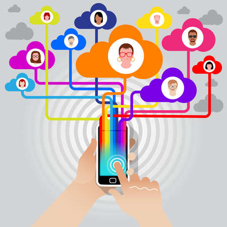 A user socialising with her friends online via a Smart Phone and a Super Hi Speed network connection.