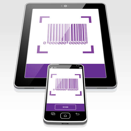 A scanned Barcode presented on a Tablet PC and Smart Phone screen. 矢量图像