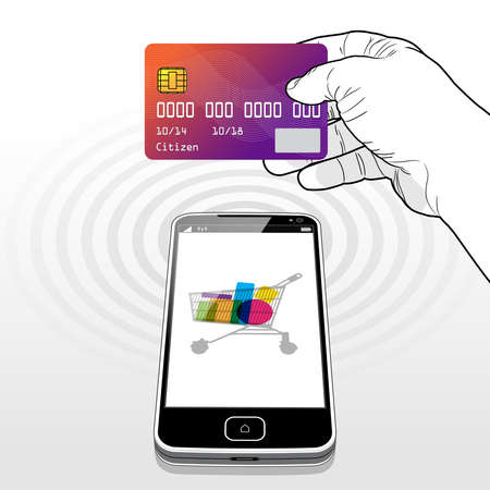 Presenting a credit card to make a payment transaction while shopping online using a Smart Phone. Illusztráció