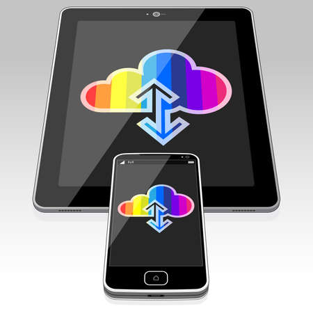 A Tablet PC and Smart phone displaying a Data Cloud Sync icon on their screens.