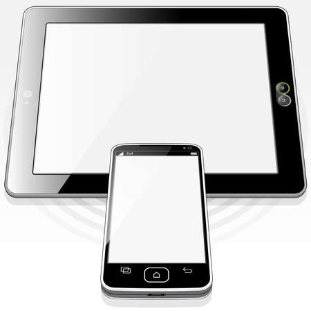 A top front angle view of a Smart-Phone & Tablet PC devices. The base circle pulse detail represents the hi speed WiFi wireless connection.