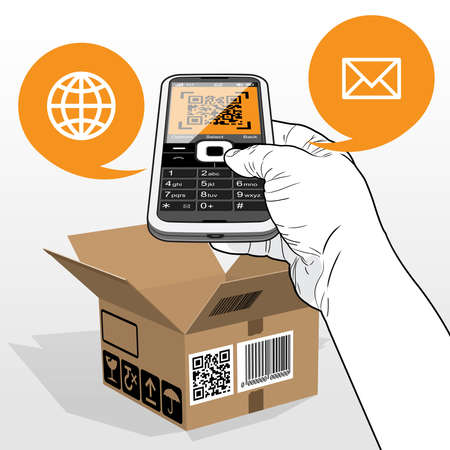 A Mobile Phone scanning a QR Code on a delivered open cardboard package. Call out speech balloons highlight email (Envelope icon) and a web page (Globe Icon).
