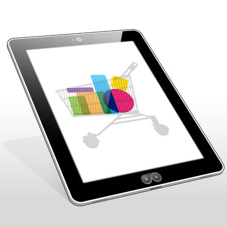 A Tablet PC presenting a filled shopping cart icon on screen.