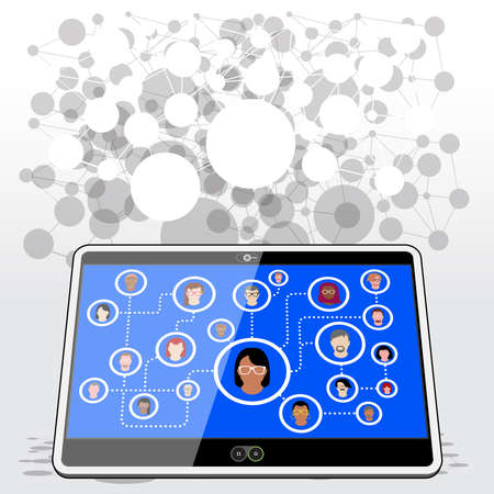 A Tablet computer connecting with family, friends and work colleagues via a social media network platform. Illustration