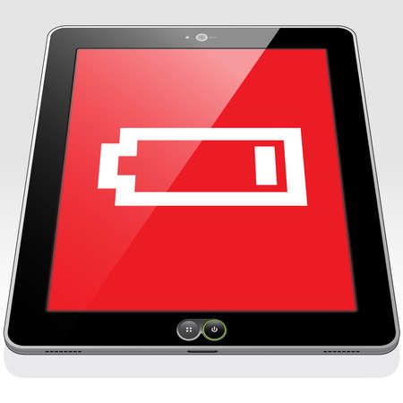 A Tablet PC with a very low, almost empty battery power charge icon on screen.