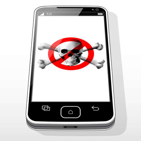 "A Smartphone device presenting a ""No Illegal software installed / Allowed"" icon on screen."