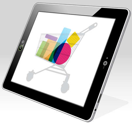 Tablet PC accessing online retail shopping.