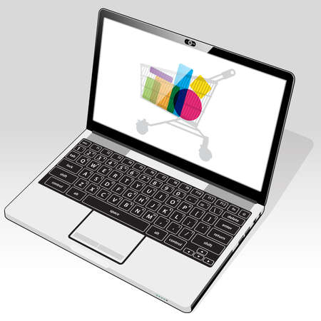 A laptop computer accessing online retail shopping. A shopping cart icon is presented on screen.