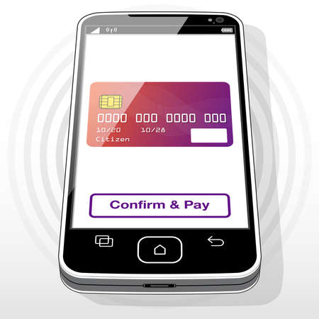 A credit card graphic and purchase button presented on a Smart Phone screen.
