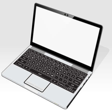 A right top view of a laptop computer with a blank screen detail.