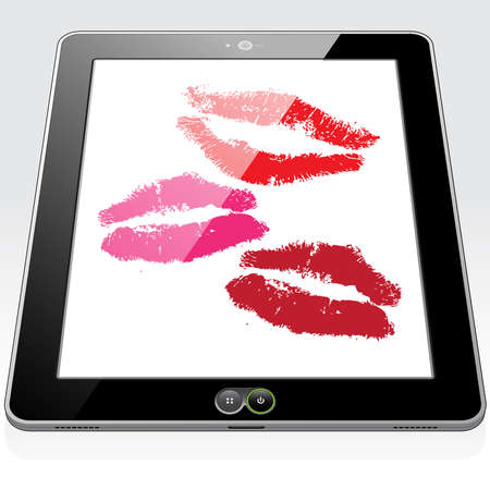 3 romantic cyber kisses sent, received and presented on a Tablet PC screen. 矢量图像