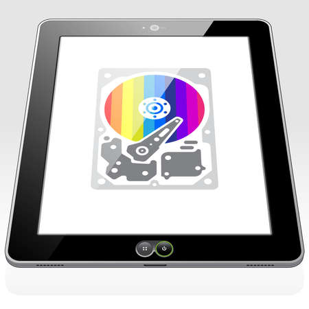 A Tablet PC syncing information and data to the Data Cloud. A virtual Hard Drive icon – symbol is presented on screen. 矢量图像