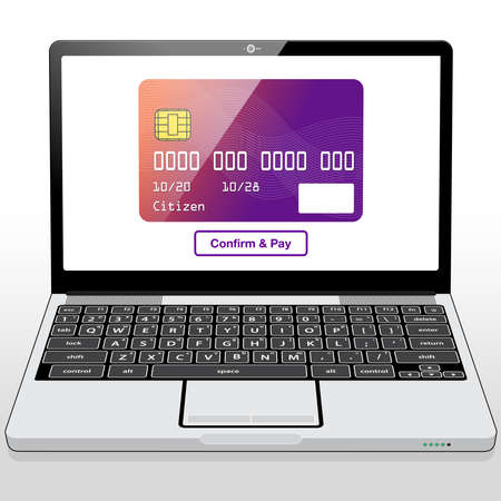 A credit card graphic and purchase button presented on a Laptop Computer screen.
