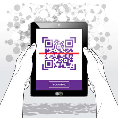 A Tablet PC presenting the scanning process of a QR code label.