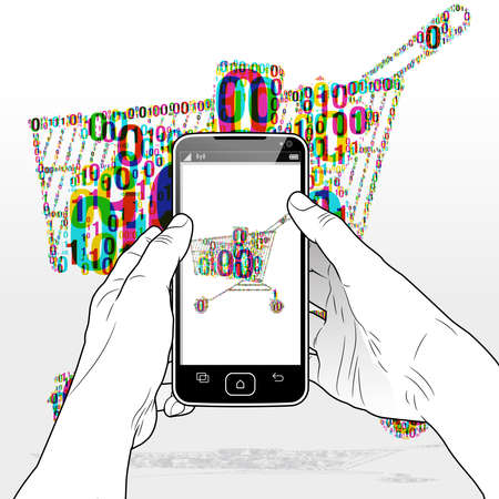 A digital e-commerce shopping experience via a Smart Phone software app. An overlapping binary code is grouped together to form a Shopping Cart. Illusztráció