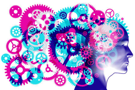 A figure head side profile overlaid with various sized semi-transparent overlapping machine cogs and gears representing hard work and processes.