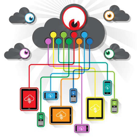 Numerous Tablet and Smart phone devices being observed secretly while interacting with the global WWW – streaming data cloud. 矢量图像