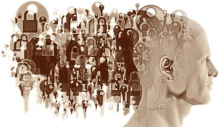 A figure head side profile overlaid with various sized semi-transparent overlapping Padlocks and Keys. Stock fotó