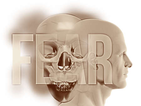 """A side human figure surrounded their negative thoughts of death and dying. This spectre is represented by the overlapping large Human Skull. Overlaid is the word """"FEAR"""" in large semi-transparent text"""