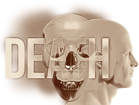 """A side human figure surrounded their negative thoughts of death and dying. This spectre is represented by the overlapping large Human Skull. Overlaid is the word """"DEATH"""" in large semi-transparent text Stock fotó"""