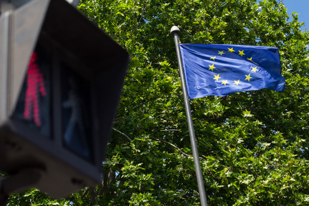 interdiction: Red light and European Union flag