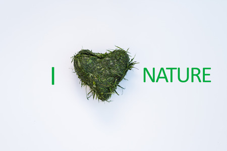 cut grass: Heart shaped out of fresh cut grass with I Love  Heart Nature graphic over white background Stock Photo