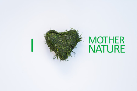 cut grass: Heart shaped out of fresh cut grass with I Love  Heart Mother Nature graphic over white background