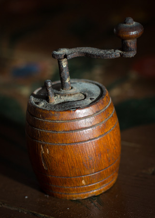 pepper grinder: Old wooden traditional pepper grinder Stock Photo